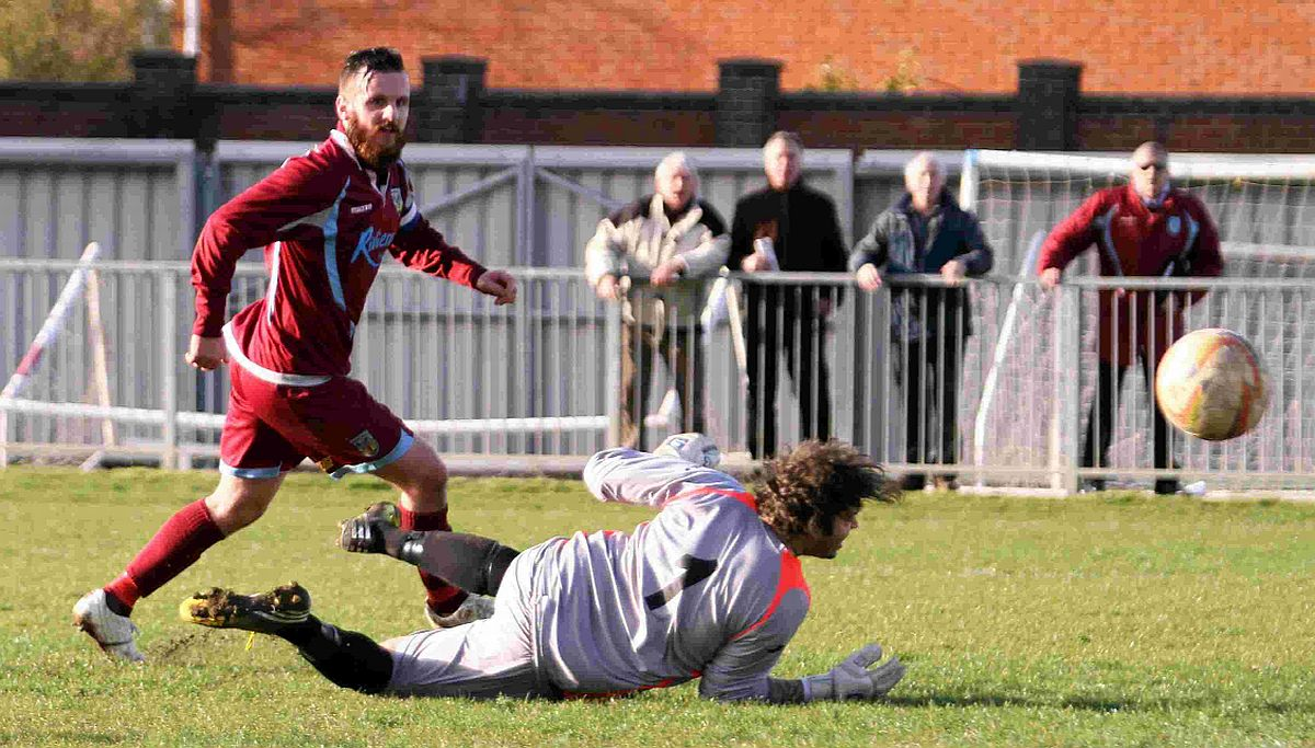 FINE FINISH: Stewart Yetton scores the Terras' second goal