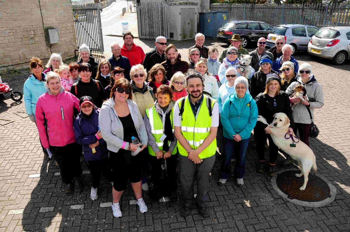 STEPPING OUT: Mark Howlett with the walkers
