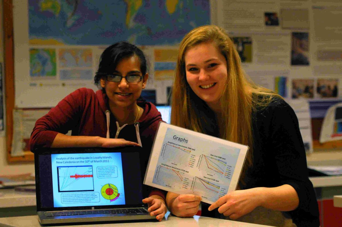 HIGHLY COMMENDED: Thomas Hardye School pupils Akanksha Kiran, left, and Annie Macklin