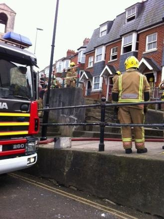 Firefighters on the scene in High West Street, Weymouth
