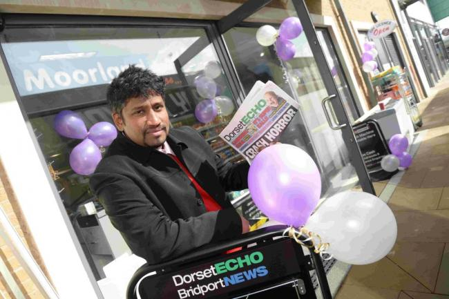 READ ALL ABOUT IT: Ruban Sathia outside his newsagent store