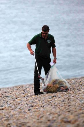TIDY: Clean-up at Chesil Beach last year
