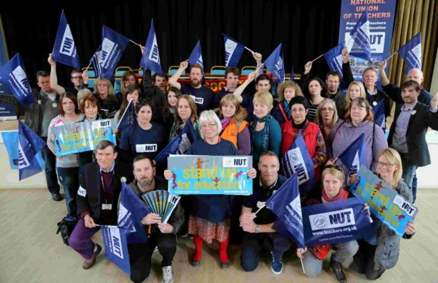 MAKING A POINT: Representatives from Dorset, Bournemouth and Poole attend an NUT rally at the Allendale Centre in Wimborne