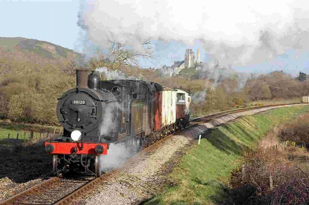 WARTIME ACTION: LSWR T9 No. 30120 and M7 No. 30053 on the Swanage Railway Picture: Andrew PM Wright