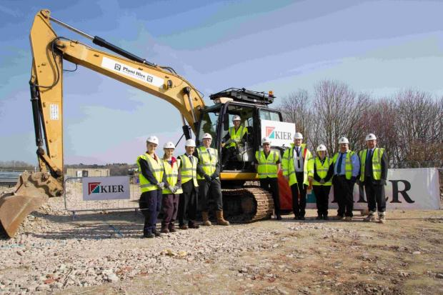 CLASS ACT:  Students and lecturers join Kier employees for a ceremony to mark the start of work