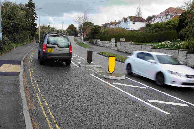 DANGEROUS: One of the traffic islands installed by Dorset County Council on Preston Road