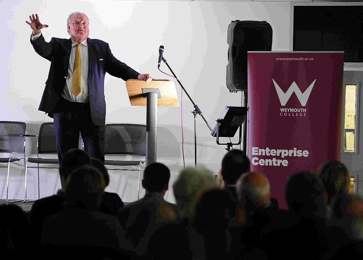 CAREER OPPORTUNITES: Lord Digby Jones speaks at the apprenticeship fair at Weymouth College