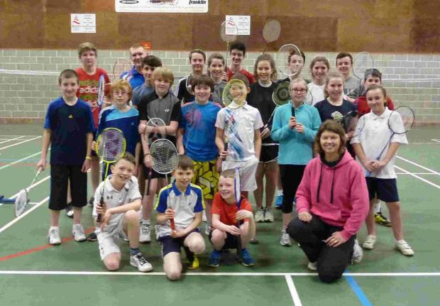 ENTHUSIASTIC: Shuttlebusters youngsters with coach Liz Osborne
