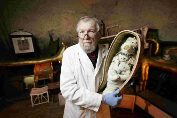 SEARCH: Michael Ridley examines a mummified teddy bear