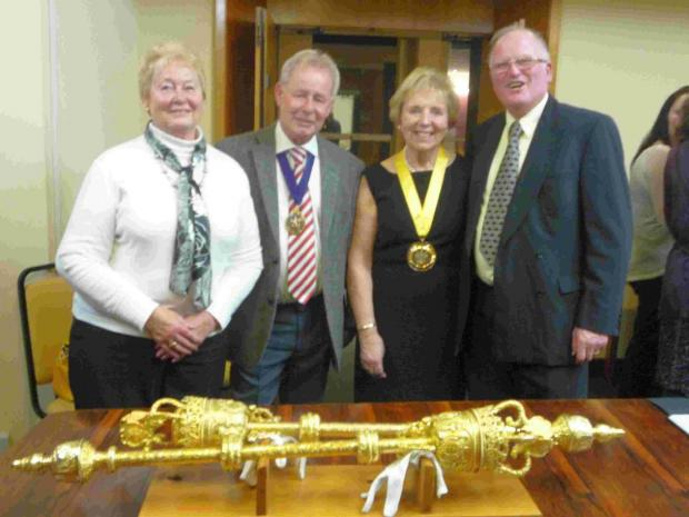 Dorset Echo: RECOGNITION: Weymouth ABC president David Nelmes, right, and wife Margret, left, with Mayor Ray Banham and Mayoress Pamela Nixon
