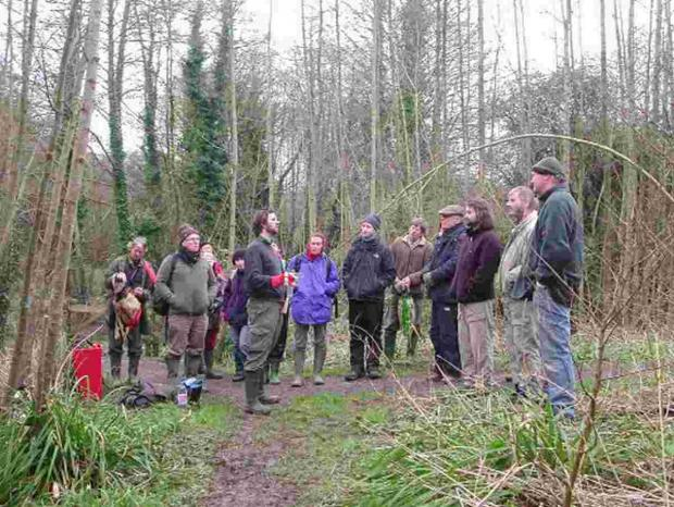 NEW WOODLAND: Lawrence Weston discussing a community woodland at Jellyfields in Bridport in March