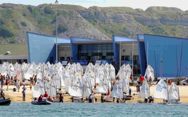 LAUNCHING: Optimists at the Weymouth and Portland Sailing Academy