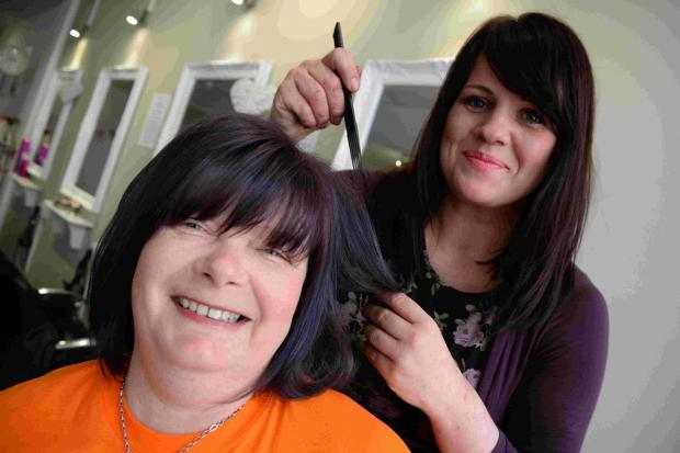 Sally Dench gets her hair dyed purple by her daughter-in-law Laura