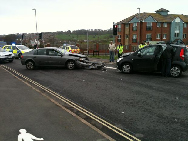 Photo taken by Samuel Bradley: Motorists face delays due to four car crash