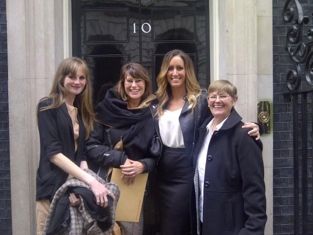 PROUD: Storm Wallace, second right, outside No 10 with, from left, Zoe Yates, Gwen Aldous and Cllr Sandy West. Picture courtesy of ITV
