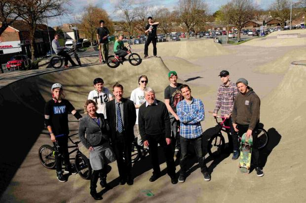 Emma Scott, Steve Newman, Robin Potter and Mark Noble with skatepark users