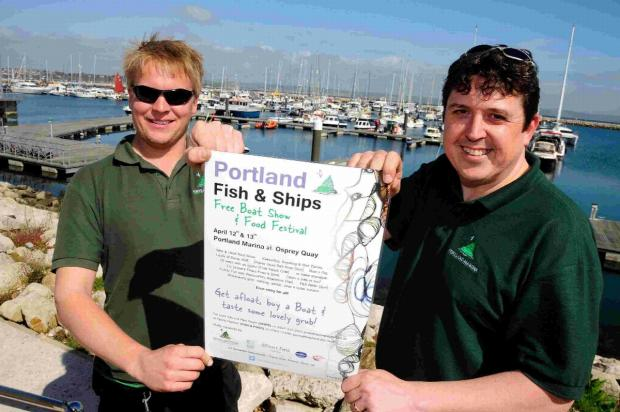 Paul Swain and Russ Levett promoting the Fish and Ships festival at Portland Marina this weekend