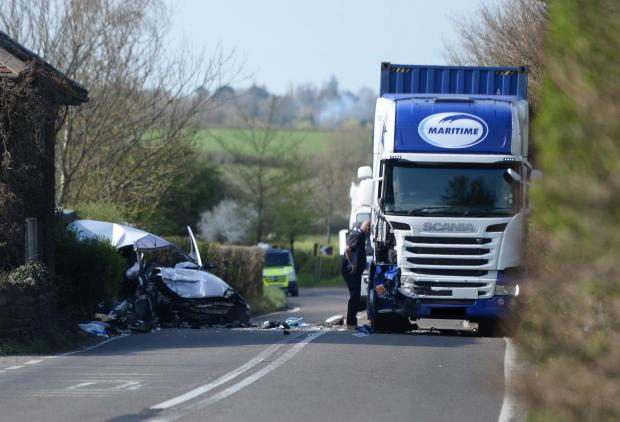 CRASH: Scene on A37 after a HGV and car were in collision