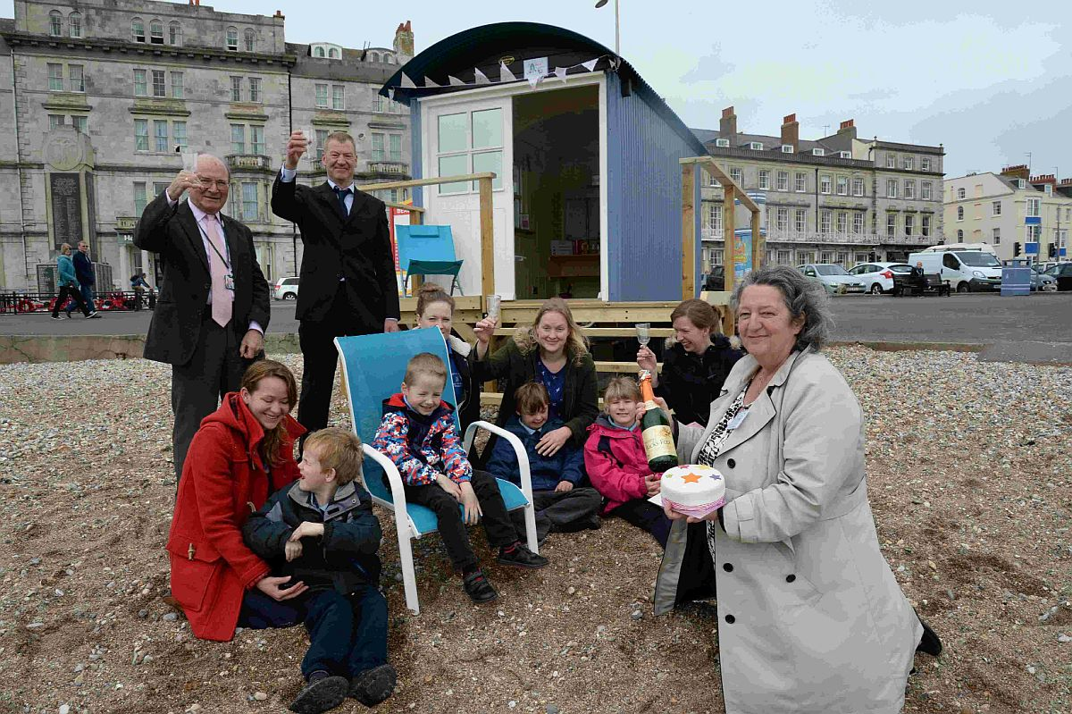 WELCOME BOOST: Lesley Mellor, right, at the opening of the new beach hut.