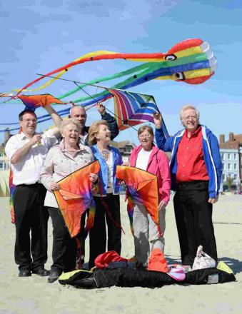 UP, UP AND AWAY: Kite festival organisers on Weymouth Beach