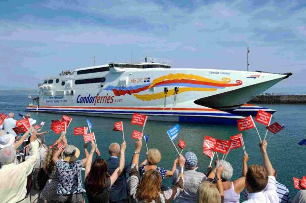 THAT WAS THEN: Weymouth welcomes Condor back to the port last July