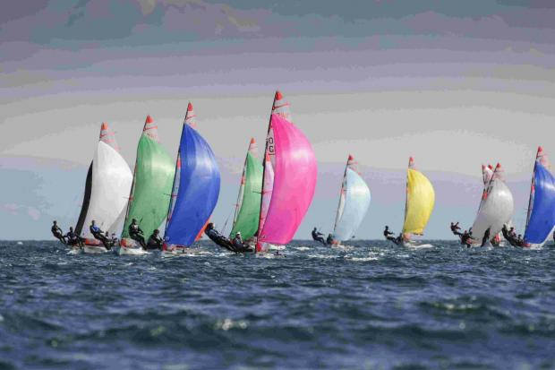 CHALLENGING: The 29er fleet at the Youth Championships