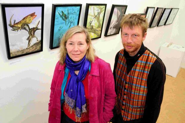 Kimberly Clarke director of Lyme Regis Fossil Festival and Philip Clayton curator of the Town Mill galleries