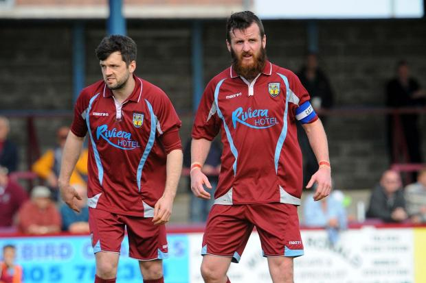 TWO GOALS; Stewart Yetton, right, with Adam Kelly