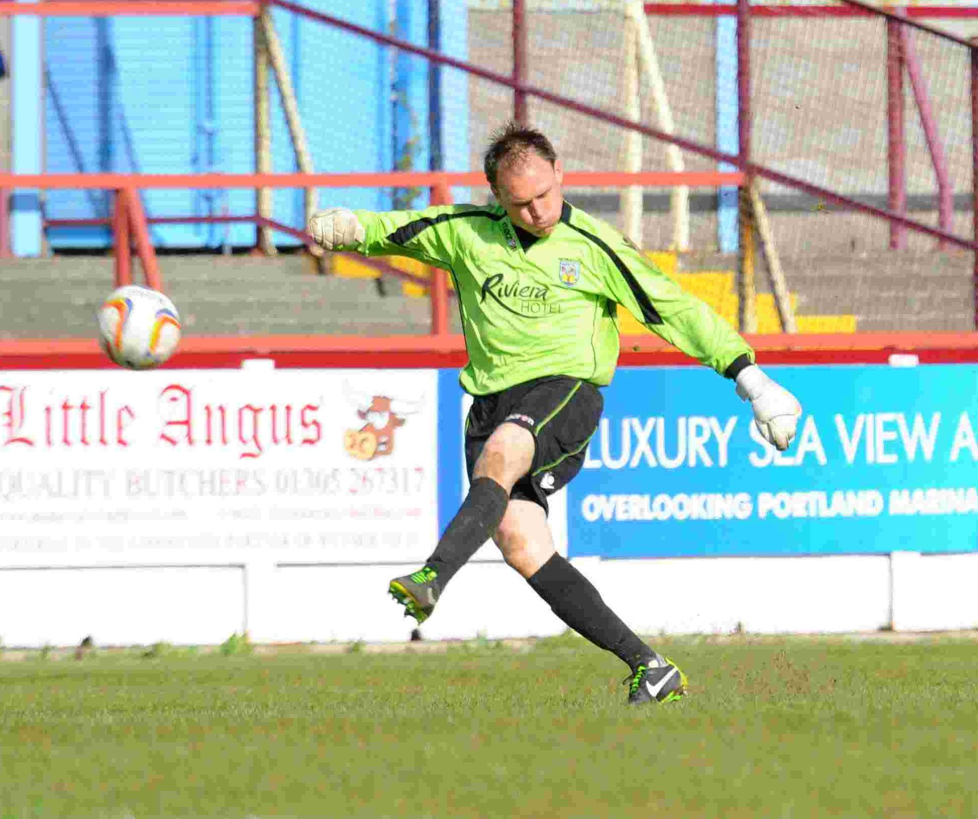 WARNING ISSUED: Terras' boss Jason Matthews in action against Truro City