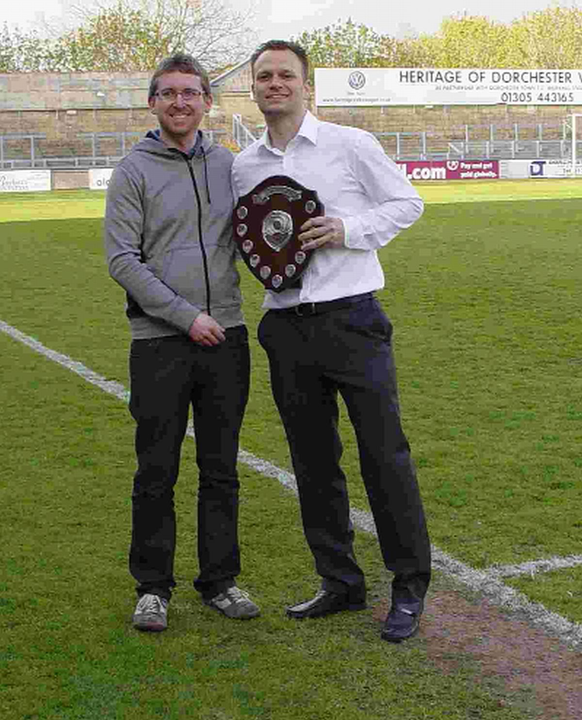 Dorset Echo Player of the Year: Alan Walker-Harris, right, collects his award from reporter David Will