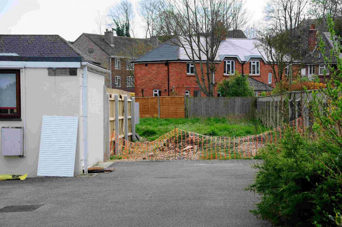 View of plot behind 38 London Road, Dorchester, which has gained planning permission at third time of asking