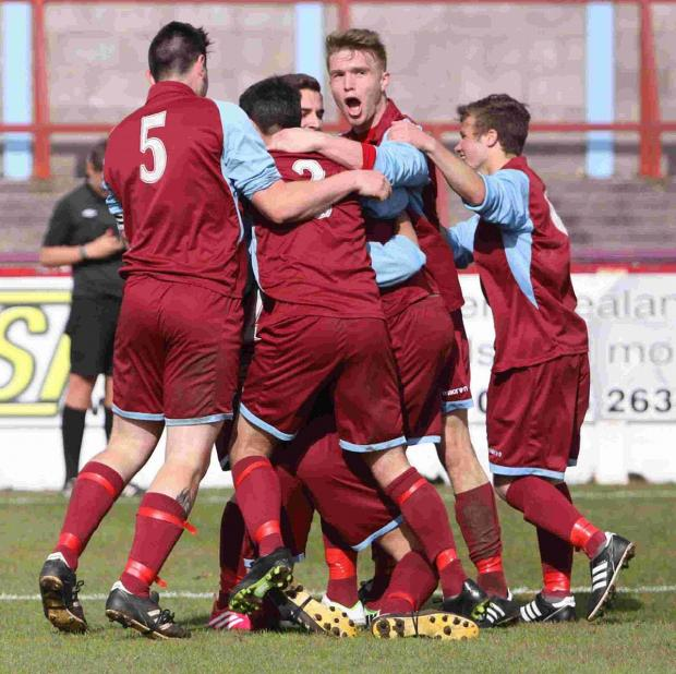 JUBILANT: The Terras celebrate after Conor Jevon's late strike
