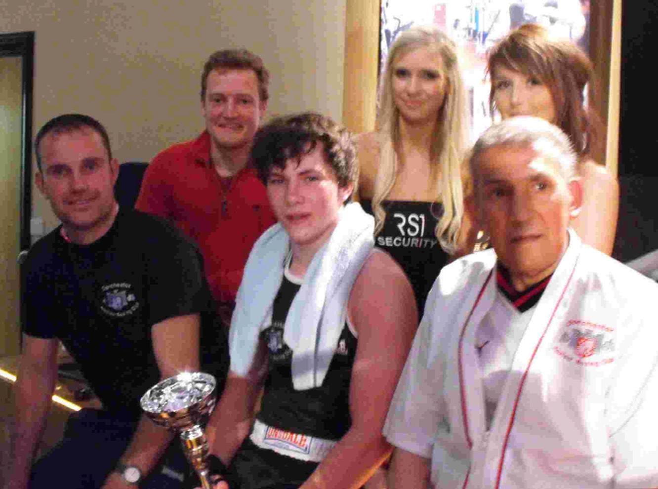 SHOWMAN: Fraser Low, front centre, after his fight with Weymouth's Leon Fowler