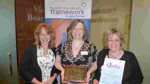 CELEBRATION: From left, Marnie Moors, Julie Tombs and Suzanne Jackson from Culliford House care home celebrate their award
