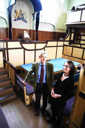 RENOVATION: Roger Gould and Rosie Dilke in the old court at Dorchester