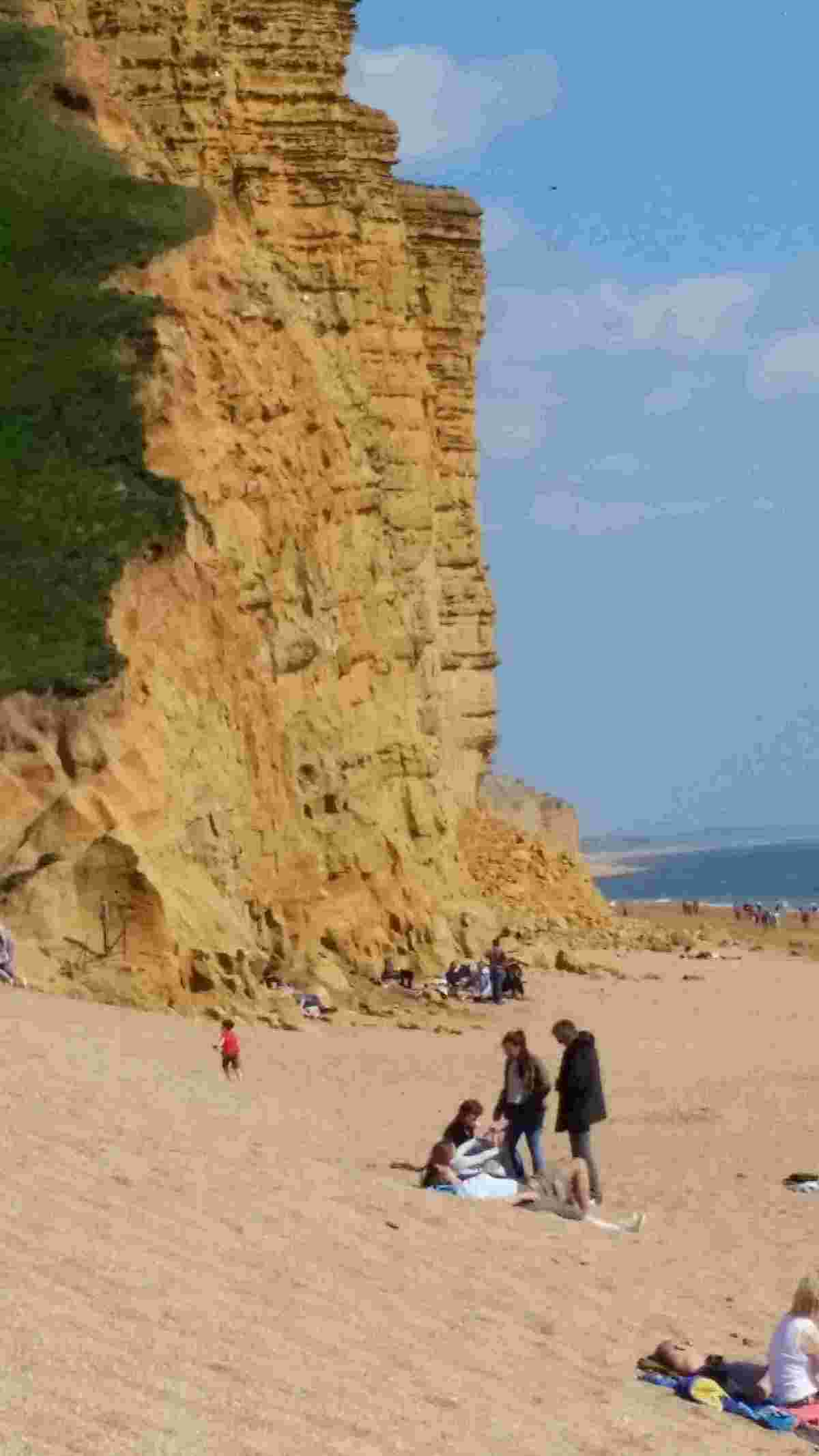TAKE CARE: Safety fears for people sitting on the beach too close to the cliffs