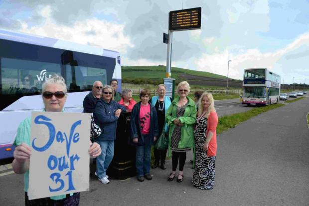 THAT'S JUST NOT FARE: Brenda Bugler and other protesters are upset about service X31 bus changes at Littlemoor