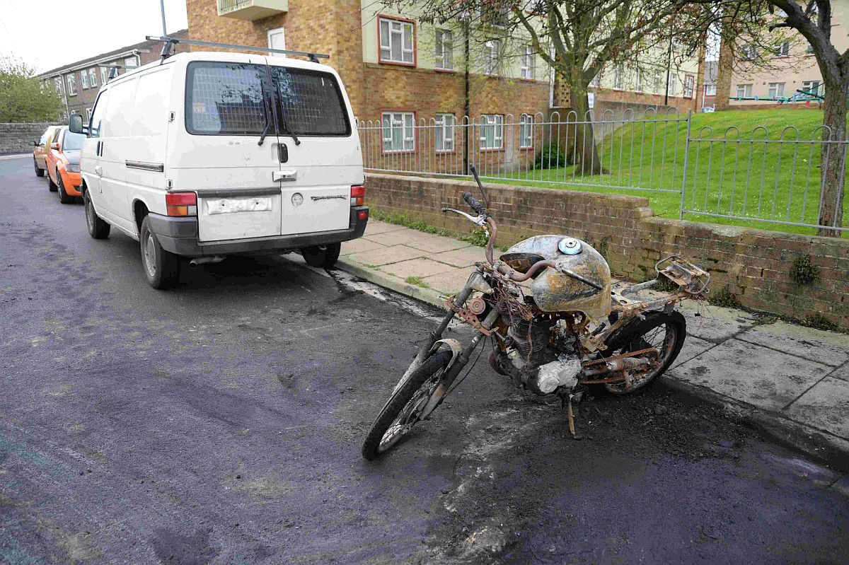 THIRD INCIDENT: Fire damaged bike and van in Chapelhay, Weymouth