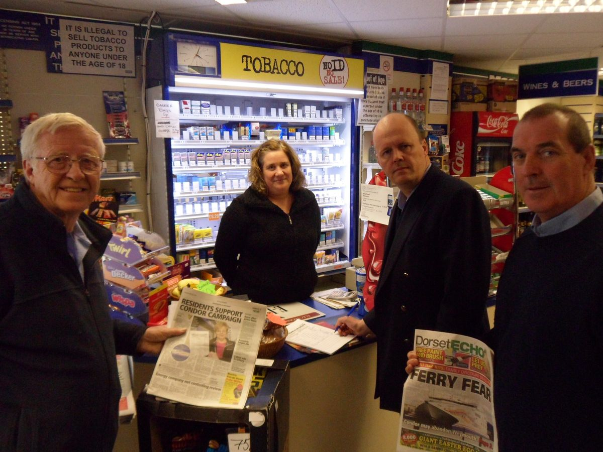 SUPPORT: MEP Ashley Fox, second right, with, from left, Cllr Ian Bruce, sales assistant Lisa Shuttle and Roger Costello at Mace News