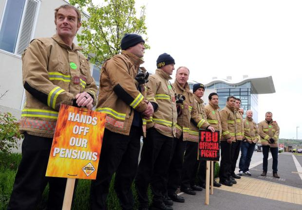 Dorset Echo: ACTION: Firefighters on the picket line at Weymouth on Friday. Picture: FINNBARR WEBSTER