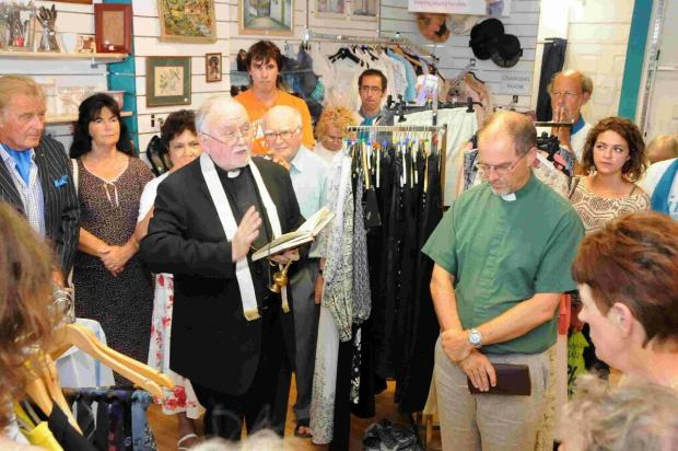 Father Stephen Geddes and Rev Pip Salmon bless the new Life charity shop last year