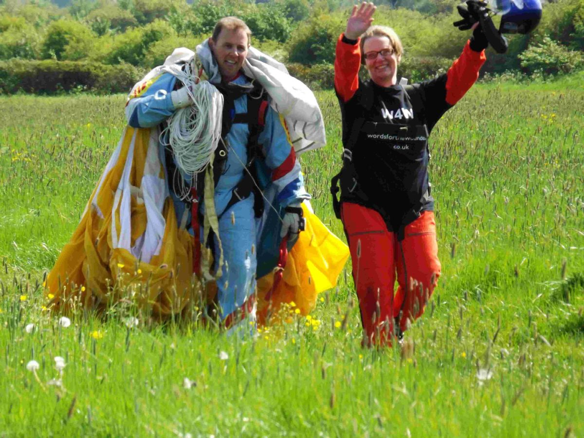 DONE IT: Penny Deacon after her charity skydive for Words for the Wounded