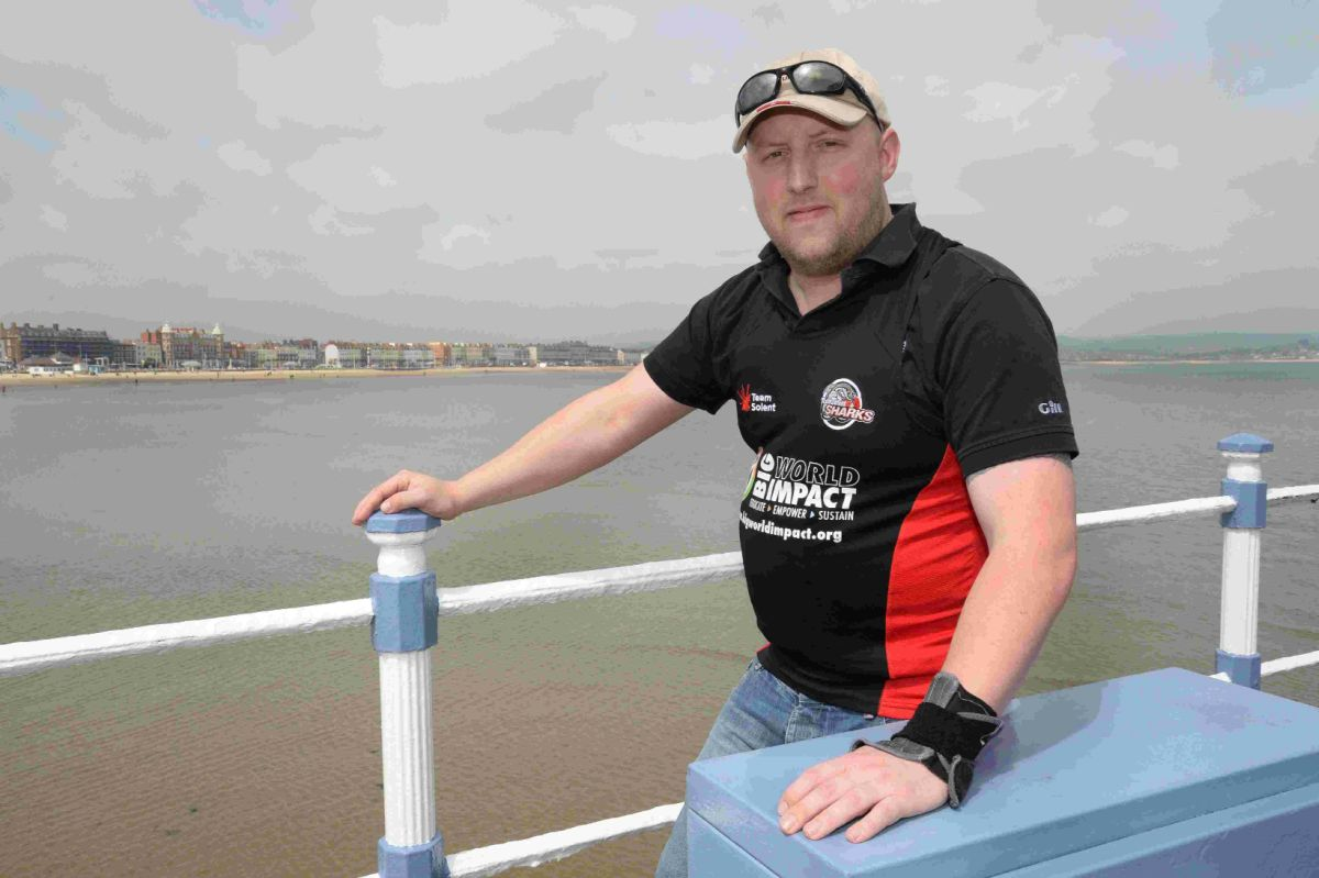INTREPID: Gus McKechnie is taking on the cycle section of Challenge Weymouth in a racing wheelchair