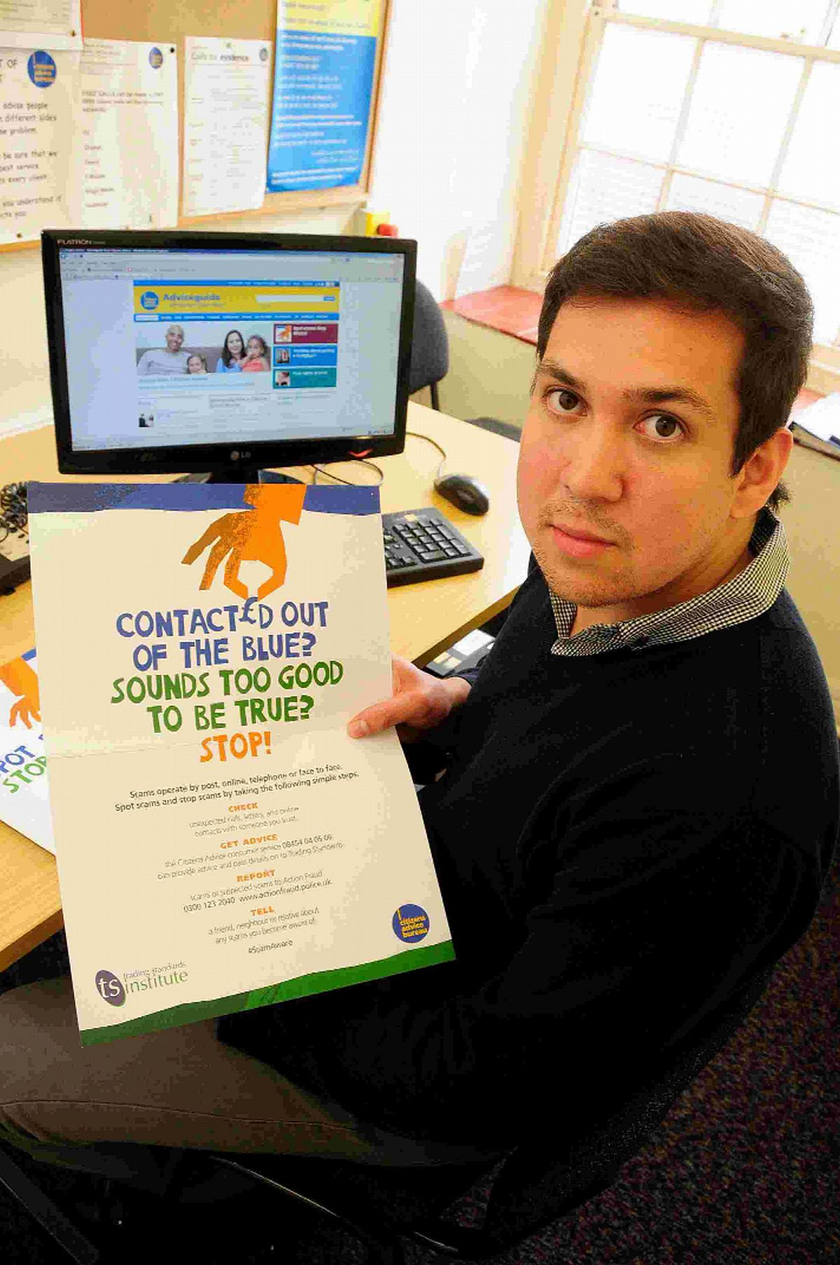 Shaun Powell at the Bridport Citizens Advice Bureau warning people of email scams