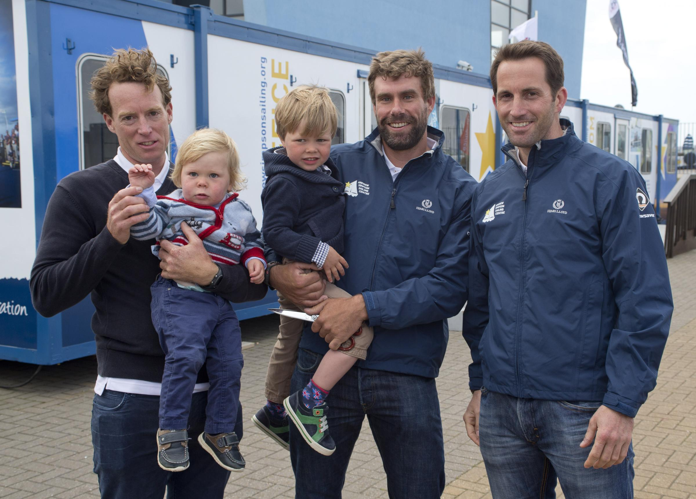 Olympians Paul Goodison, Iain Percy and Sir Ben Ainslie with Freddie and Hamish launch the Andrew Simpson Sailing Foundation. Picture  onEdition