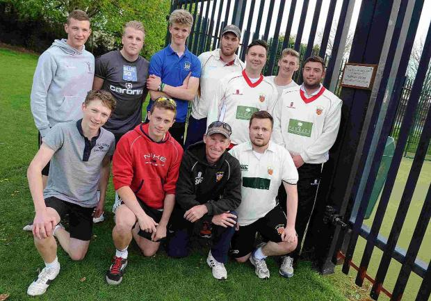 MEMORIAL: Dorchester Cricket Club members unveil a plaque in memory of Nathan Cross