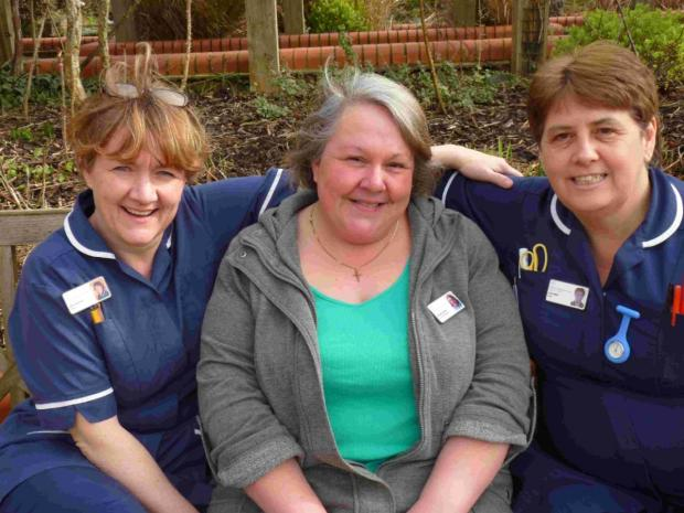 CARING: Chris Barrett, Jayne Callow (Woody) and Julie Nash