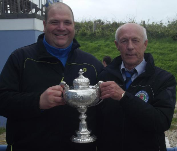 Dorset Echo: CELEBRATIONS: Portland United manager Gary Bailey, with chairman Robin Satherley
