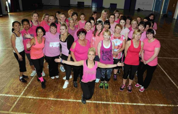 READY TO GO: Zumba coach Lou Sams and some of her ladies from Zumba Heat who are going to be taking part in the Dorchester Race for Life