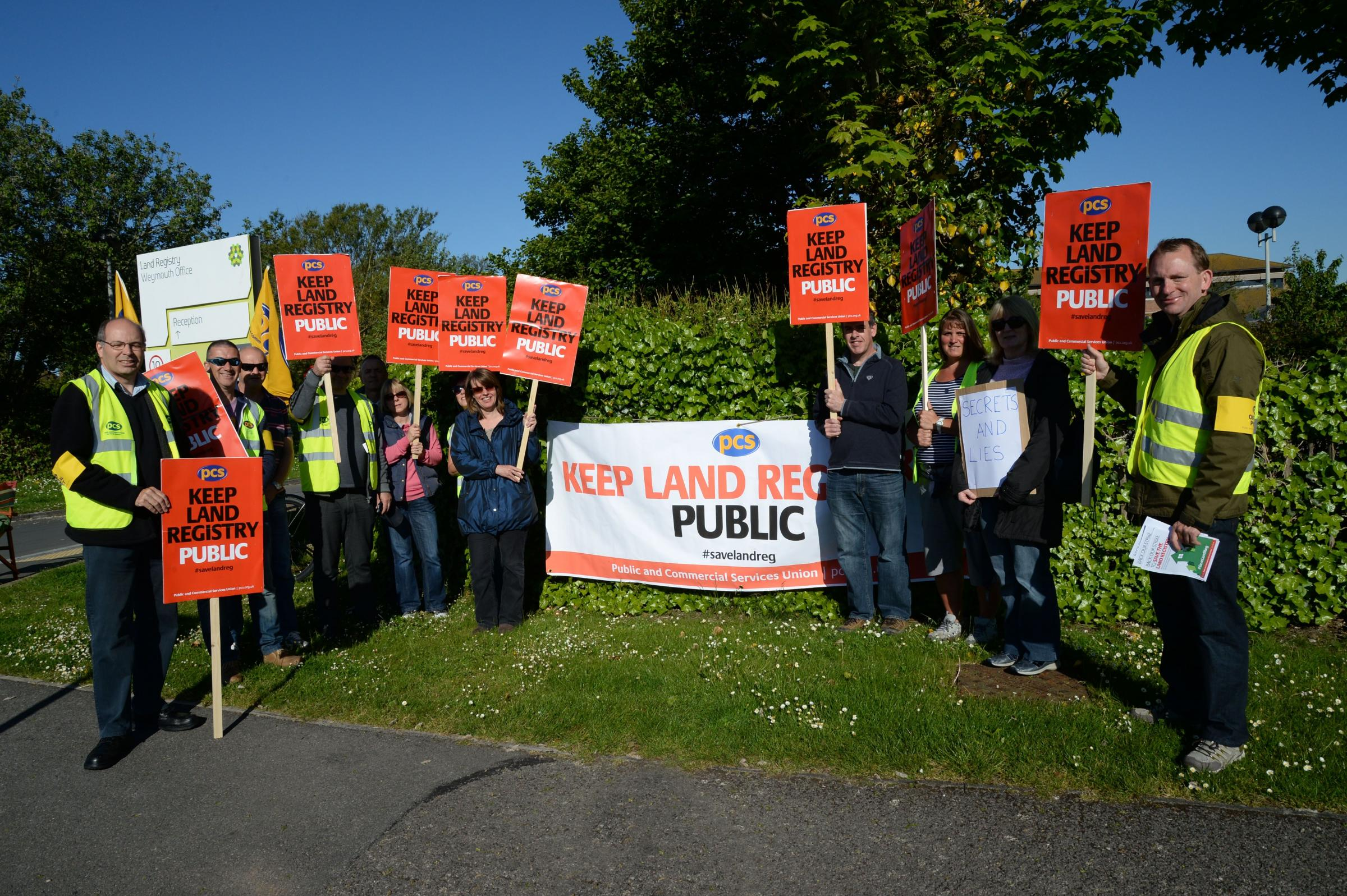 Union members strike at Land Registry over fears about privatisation and job cuts